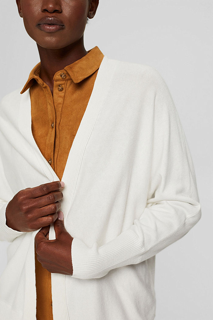 Open-fronted batwing cardigan, organic cotton blend, OFF WHITE, detail image number 2