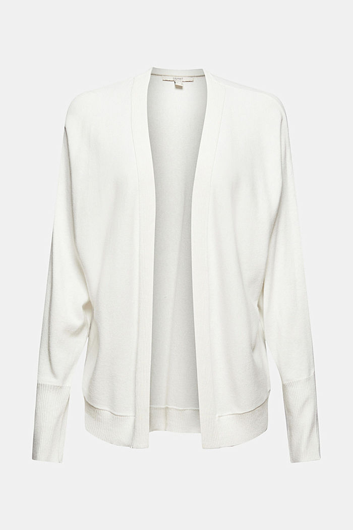 Open-fronted batwing cardigan, organic cotton blend, OFF WHITE, detail image number 5
