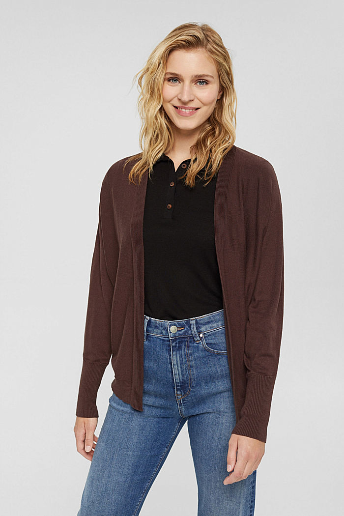 Open-fronted batwing cardigan, organic cotton blend