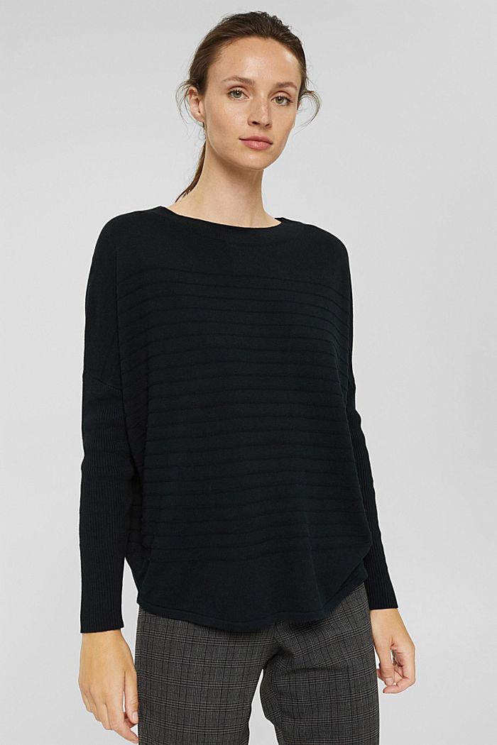 Jersey de punto fino confeccionado en una mezcla de algodón ecológico, BLACK, detail image number 0