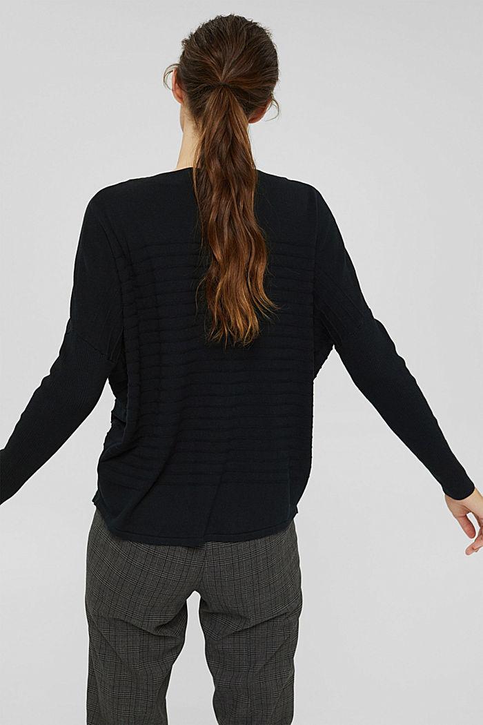 Jersey de punto fino confeccionado en una mezcla de algodón ecológico, BLACK, detail image number 3