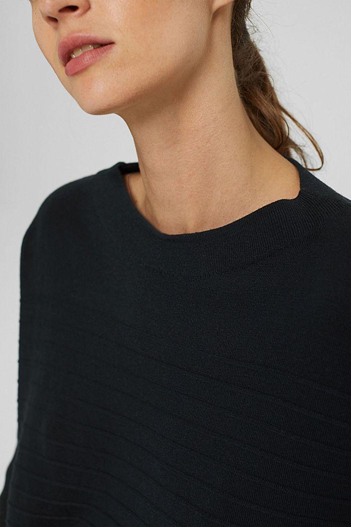 Jersey de punto fino confeccionado en una mezcla de algodón ecológico, BLACK, detail image number 2