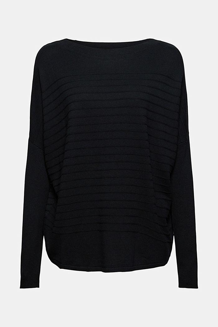 Jersey de punto fino confeccionado en una mezcla de algodón ecológico, BLACK, detail image number 5