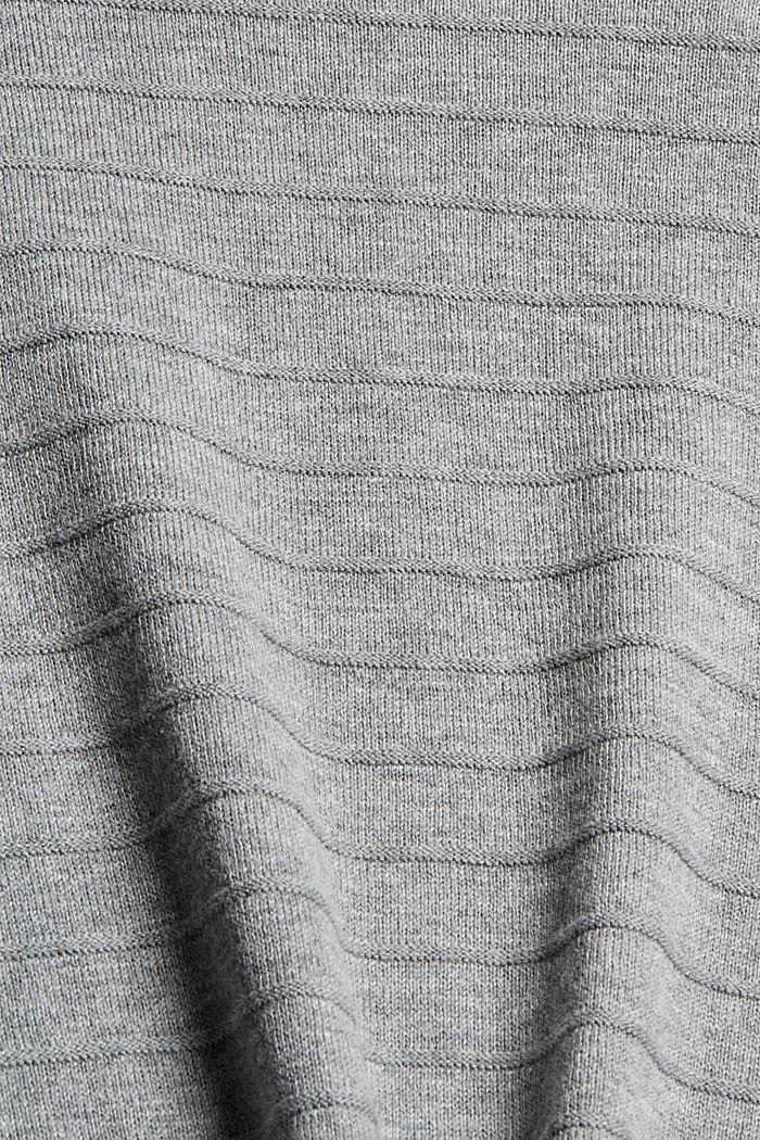 Fijngebreide trui van een mix met biologisch katoen, MEDIUM GREY, detail image number 4