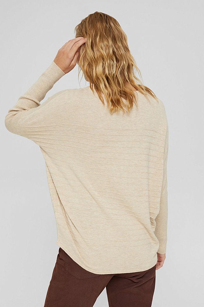 Jersey de punto fino confeccionado en una mezcla de algodón ecológico, SAND, detail image number 3