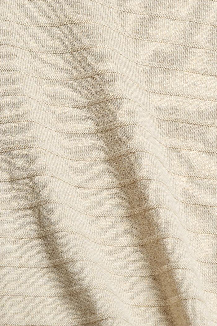 Jersey de punto fino confeccionado en una mezcla de algodón ecológico, SAND, detail image number 4