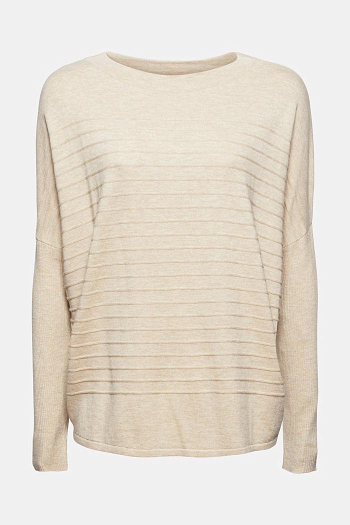 Jersey de punto fino confeccionado en una mezcla de algodón ecológico, SAND, detail image number 7