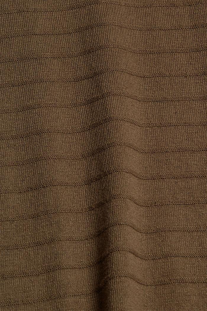 Feinstrick-Pullover aus Bio-Baumwoll-Mix, DARK KHAKI, detail image number 4