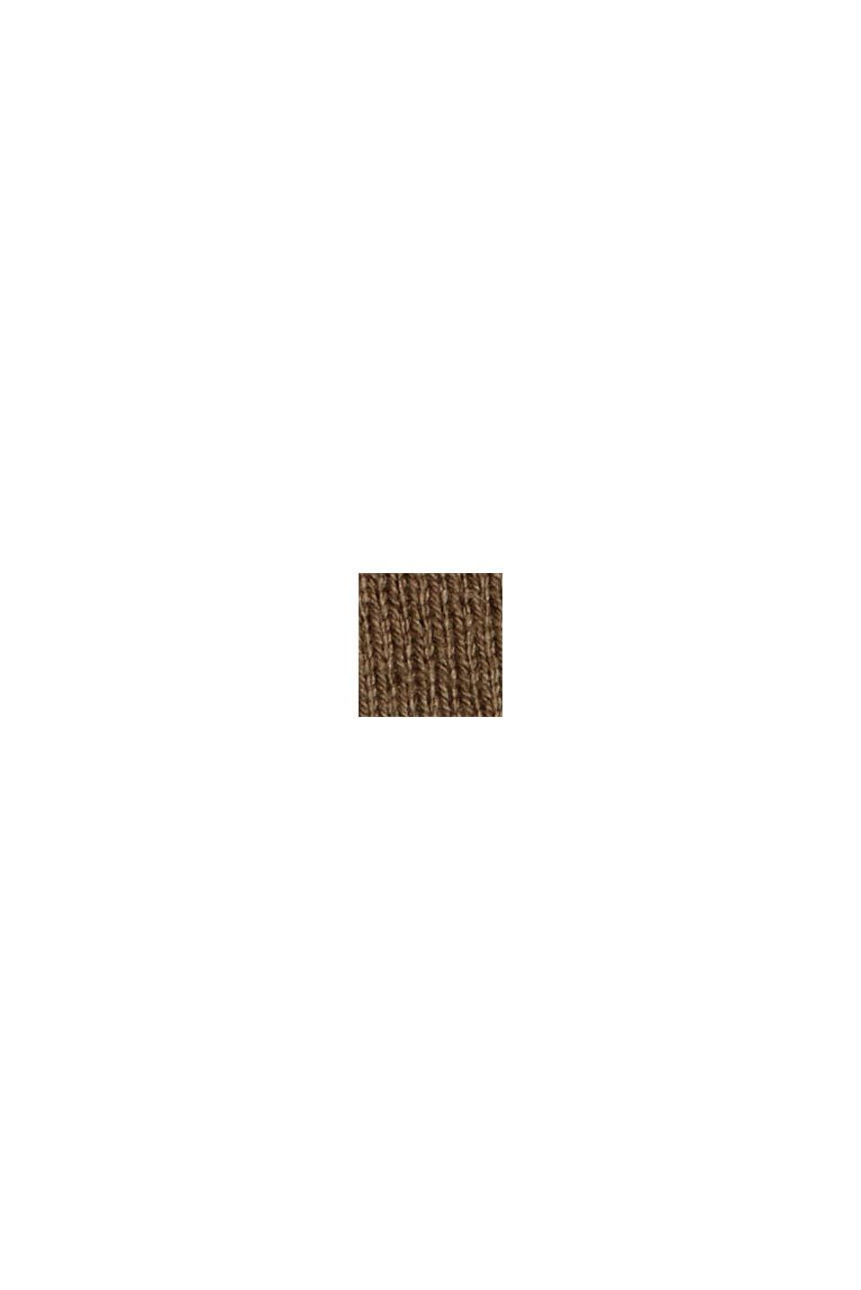 Pullover i finmasket strik af økologisk bomuldsblanding, DARK KHAKI, swatch