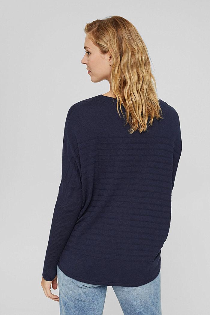 Fine knit jumper made of blended organic cotton, NAVY, detail image number 3