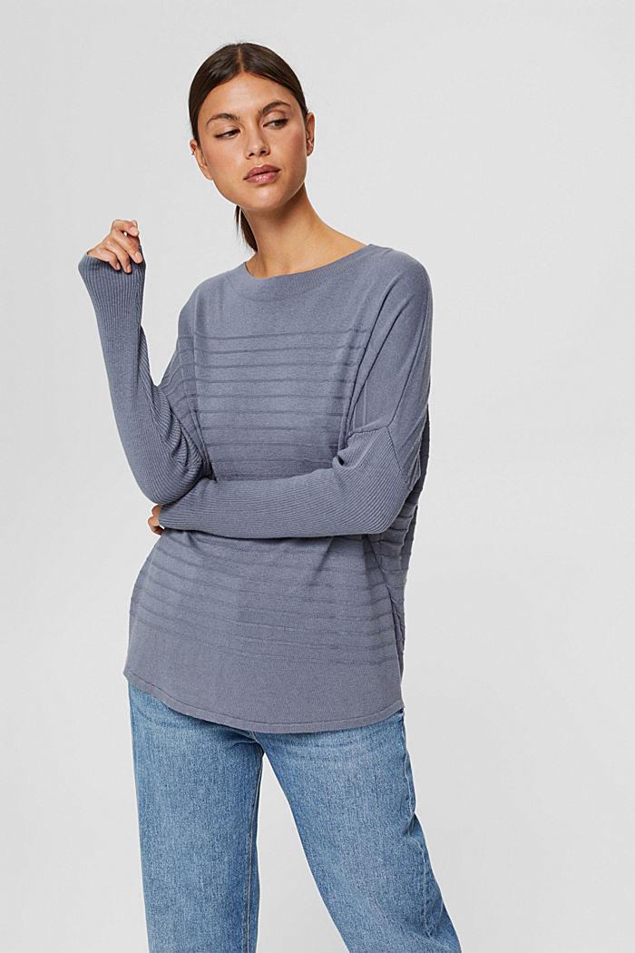 Jersey de punto fino confeccionado en una mezcla de algodón ecológico, GREY BLUE, detail image number 0