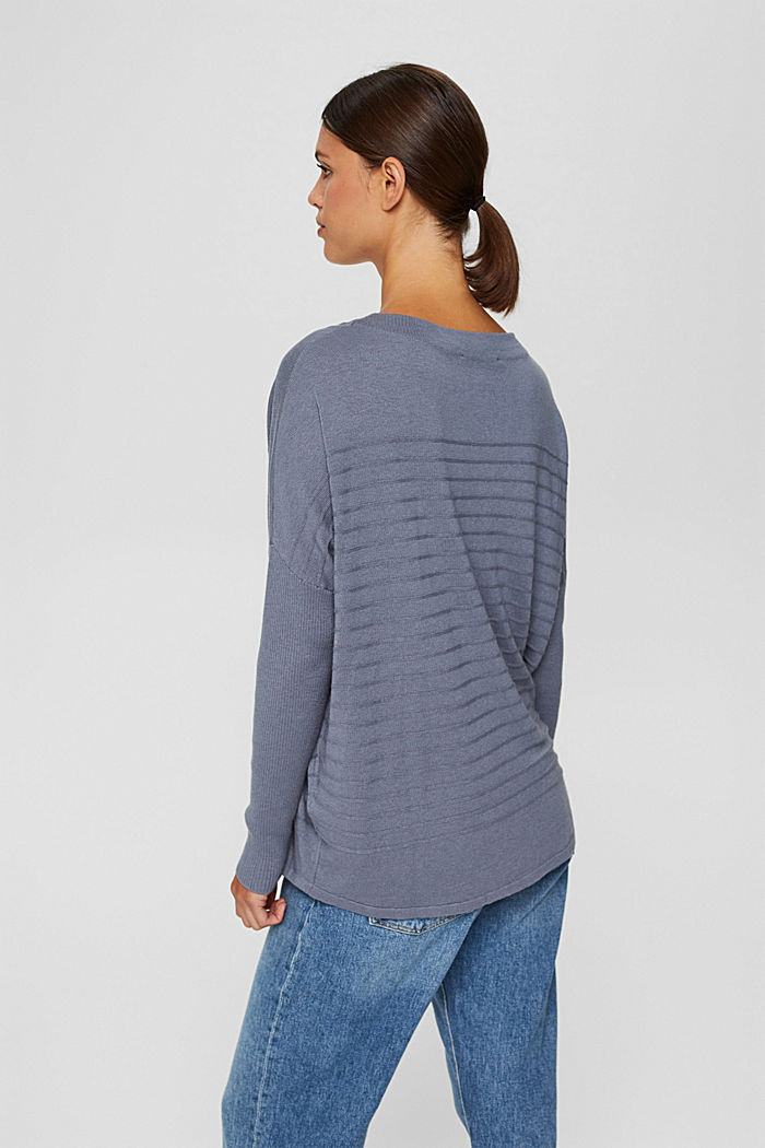 Jersey de punto fino confeccionado en una mezcla de algodón ecológico, GREY BLUE, detail image number 3