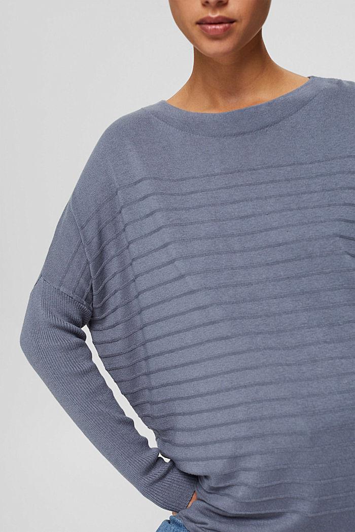 Jersey de punto fino confeccionado en una mezcla de algodón ecológico, GREY BLUE, detail image number 2