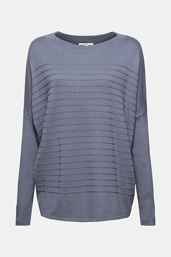 Jersey de punto fino confeccionado en una mezcla de algodón ecológico, GREY BLUE, detail image number 5