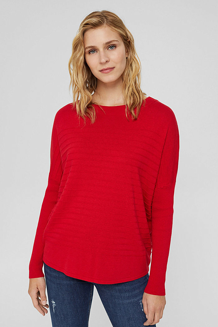 Fine knit jumper made of blended organic cotton, RED, detail image number 0