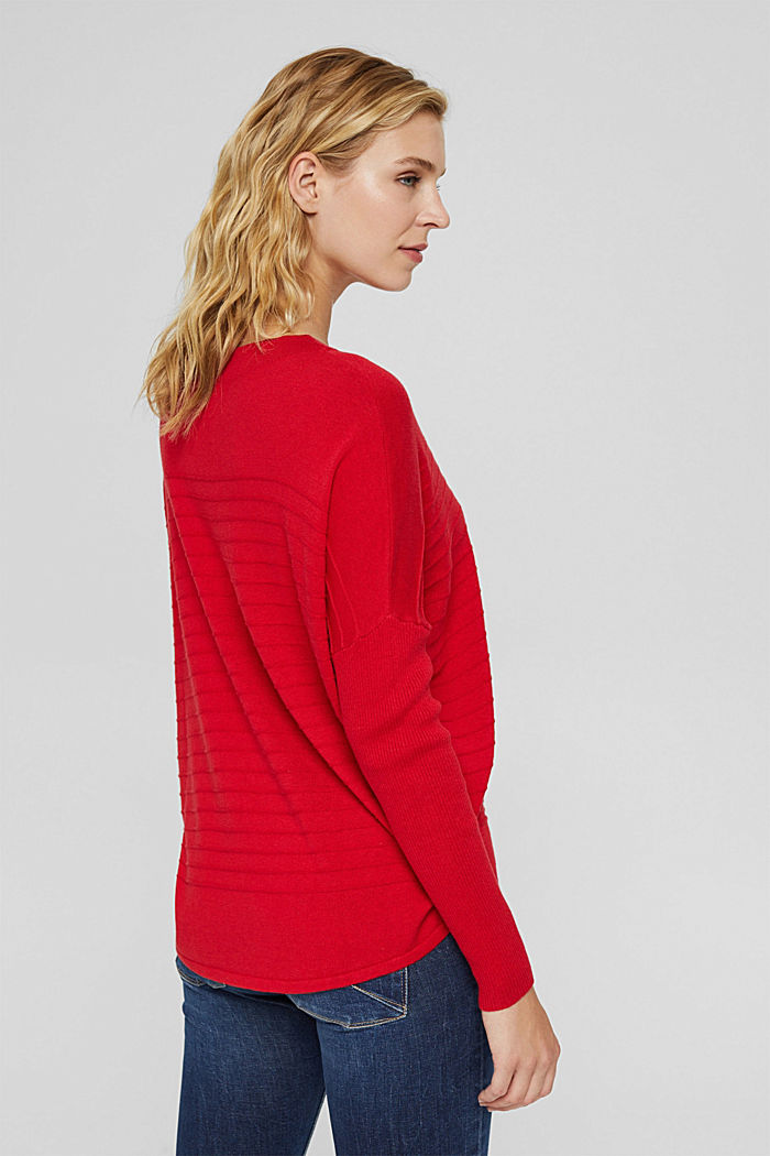Fine knit jumper made of blended organic cotton, RED, detail image number 3