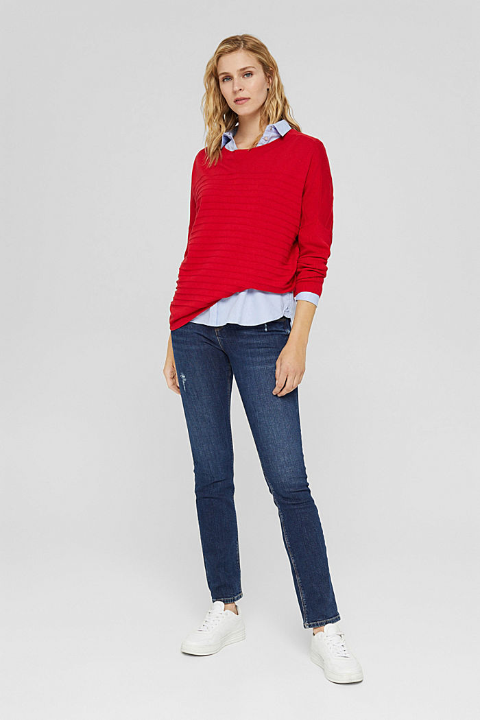 Fine knit jumper made of blended organic cotton, RED, detail image number 1