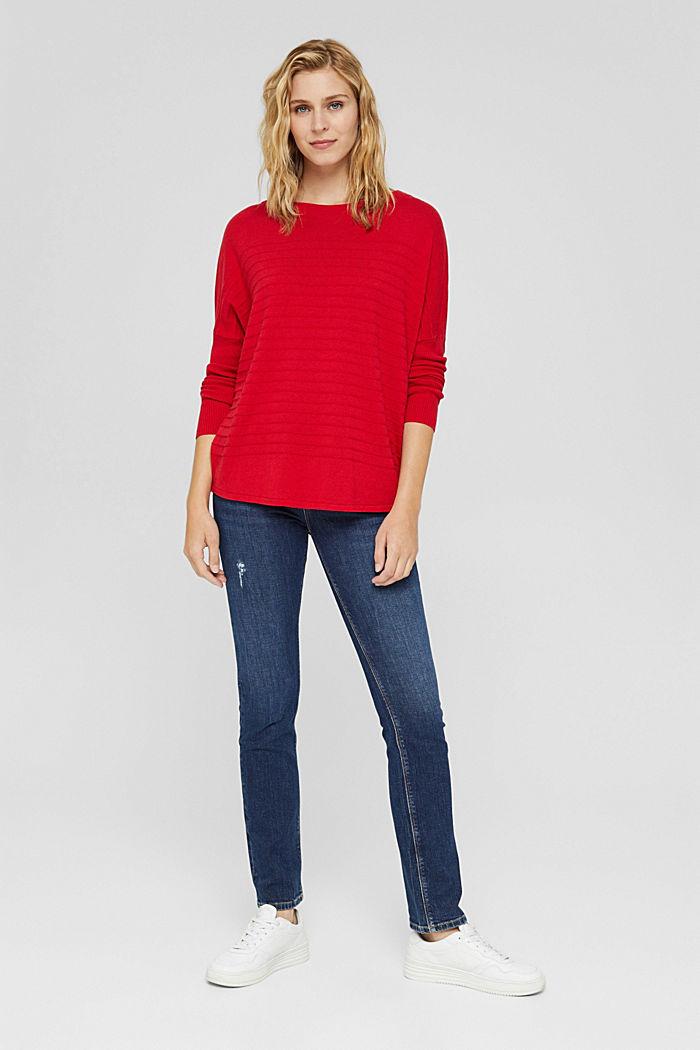 Fine knit jumper made of blended organic cotton, RED, detail image number 5