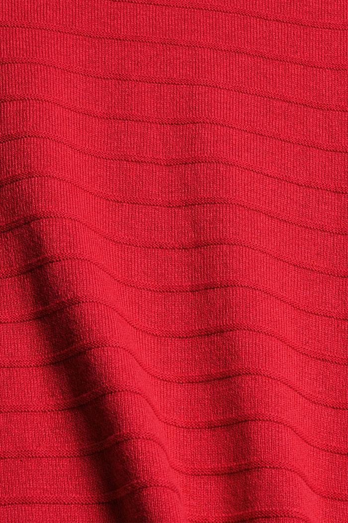 Fine knit jumper made of blended organic cotton, RED, detail image number 4