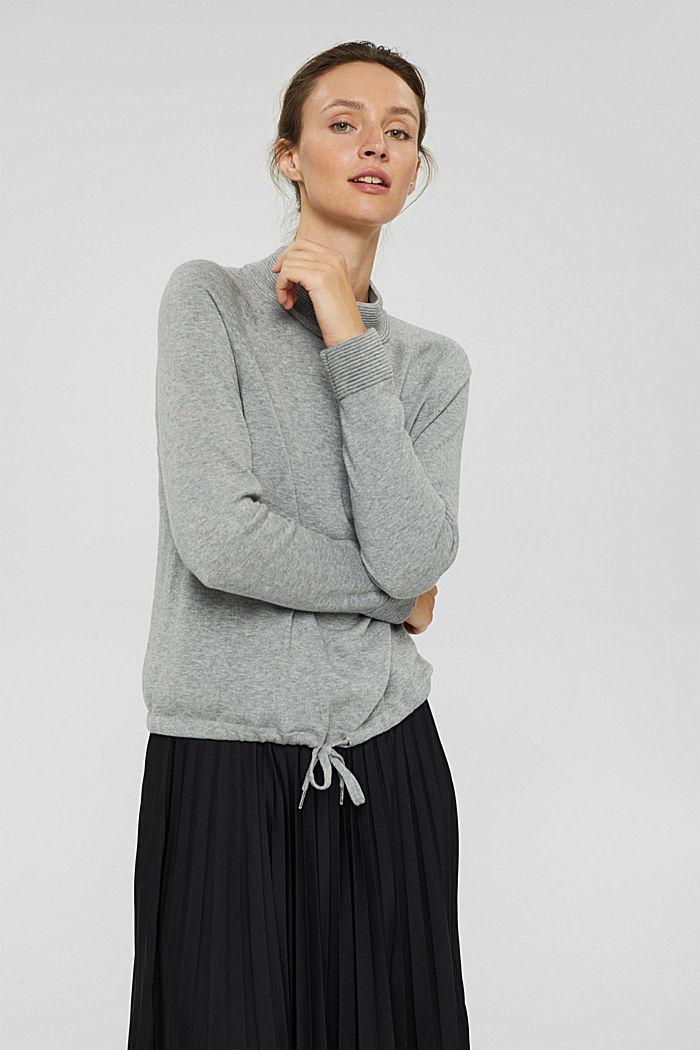 Jersey de cuello alto en 100% algodón, MEDIUM GREY, detail image number 0