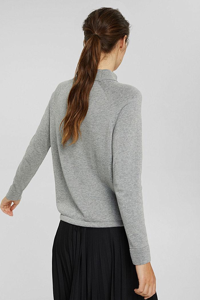 Jersey de cuello alto en 100% algodón, MEDIUM GREY, detail image number 3