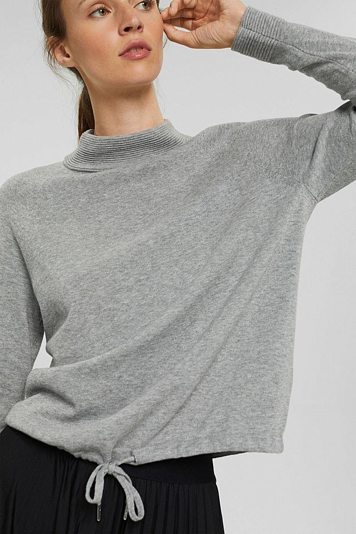 Jersey de cuello alto en 100% algodón, MEDIUM GREY, detail image number 6
