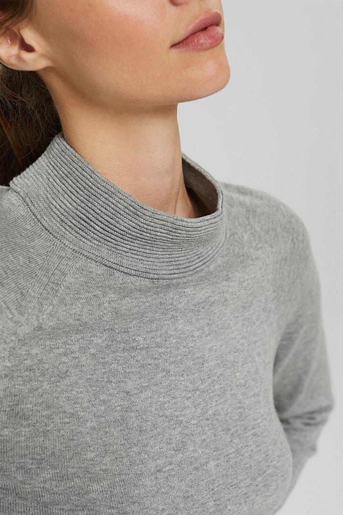Jersey de cuello alto en 100% algodón, MEDIUM GREY, detail image number 2