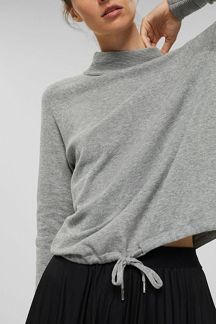 Jersey de cuello alto en 100% algodón, MEDIUM GREY, detail image number 5