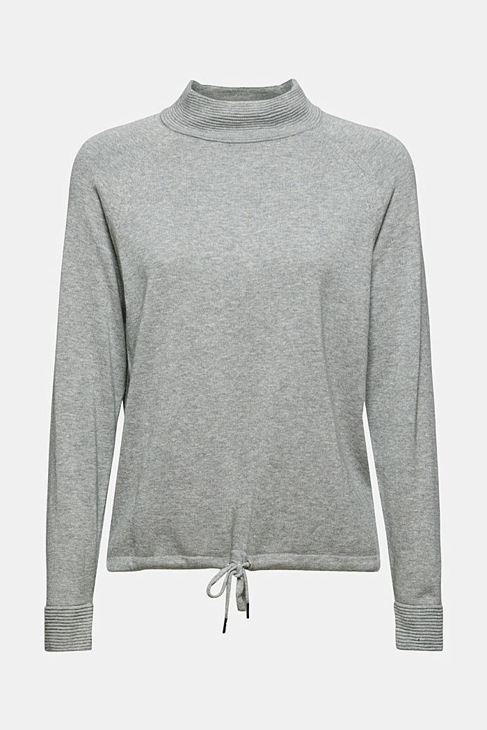 Jersey de cuello alto en 100% algodón, MEDIUM GREY, detail image number 7