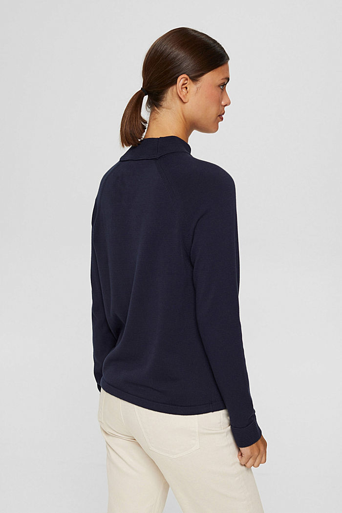 Pull-over à col cheminée, 100% coton, NAVY, detail image number 3