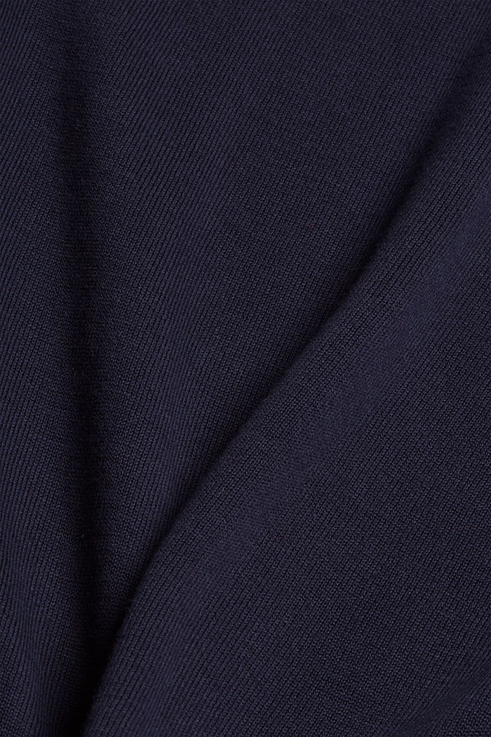 Pull-over à col cheminée, 100% coton, NAVY, detail image number 4