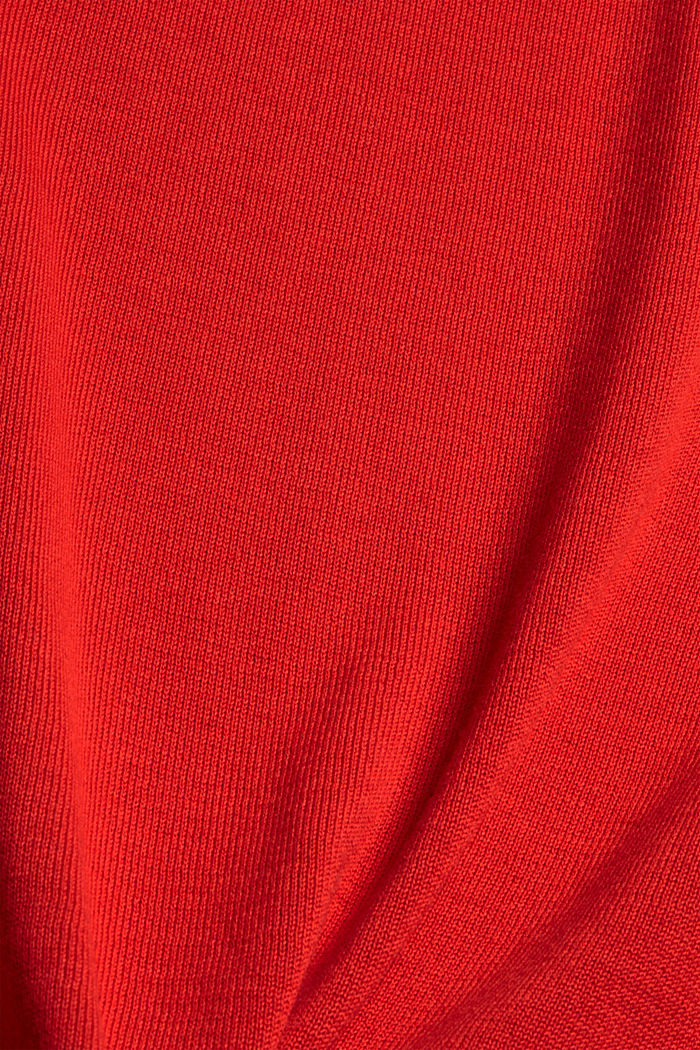 Pull-over à col cheminée, 100% coton, RED, detail image number 4