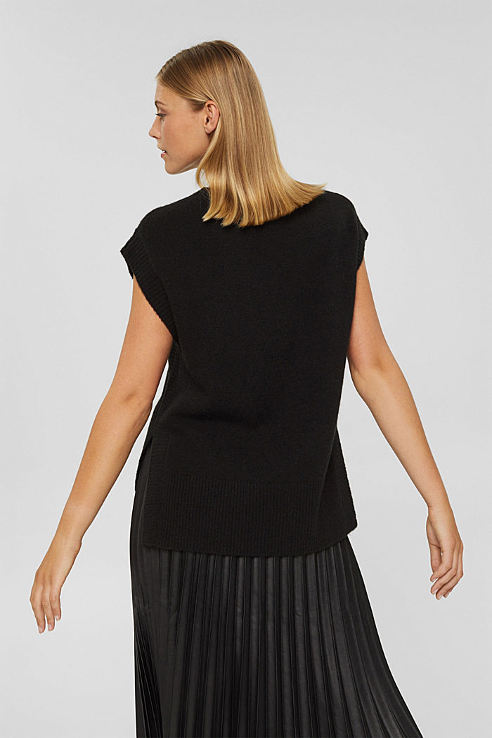 Mit Wolle: Pullunder mit High-Low-Saum, BLACK, detail image number 3