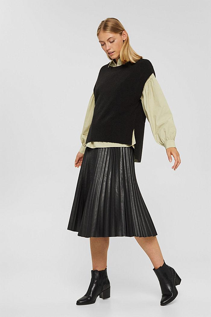 Mit Wolle: Pullunder mit High-Low-Saum, BLACK, detail image number 1