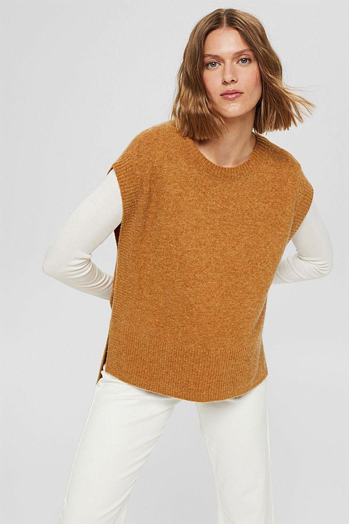 À teneur en laine: le débardeur à base plus longue au dos