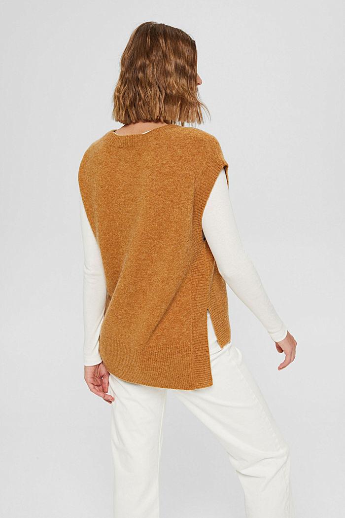 À teneur en laine: le débardeur à base plus longue au dos, CAMEL, detail image number 3