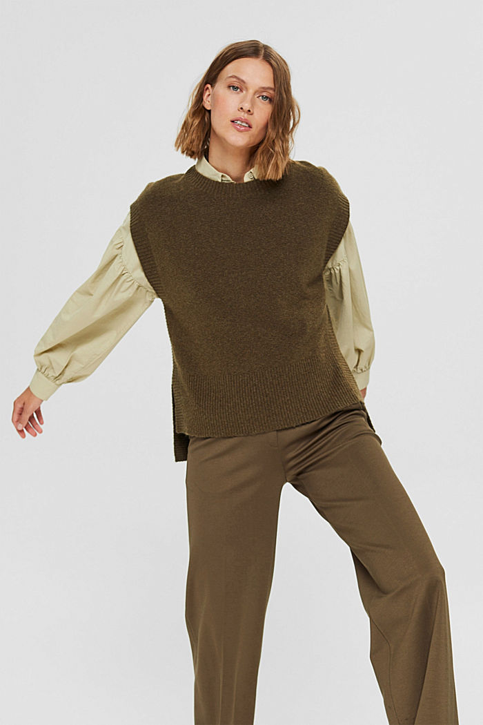 Wool blend: sleeveless jumper with high-low hem, DARK KHAKI, detail image number 0