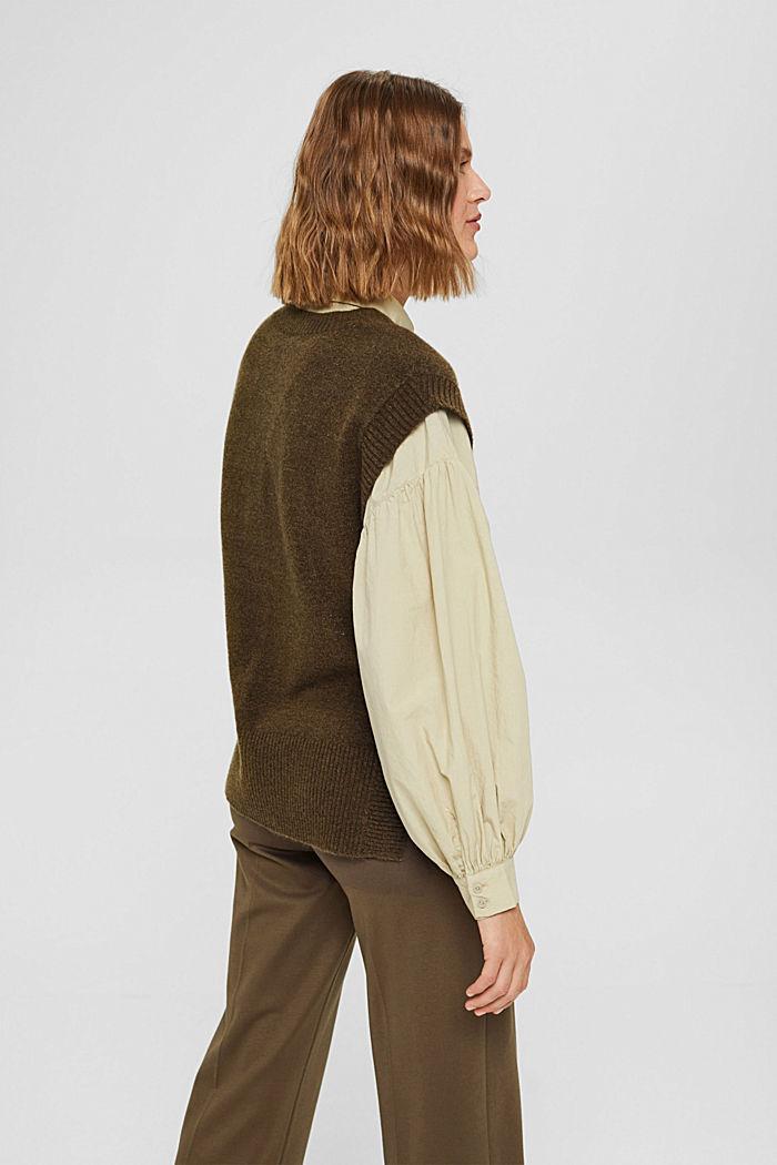 Wool blend: sleeveless jumper with high-low hem, DARK KHAKI, detail image number 3