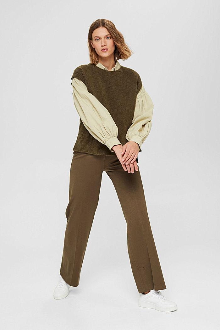 Wool blend: sleeveless jumper with high-low hem, DARK KHAKI, detail image number 7