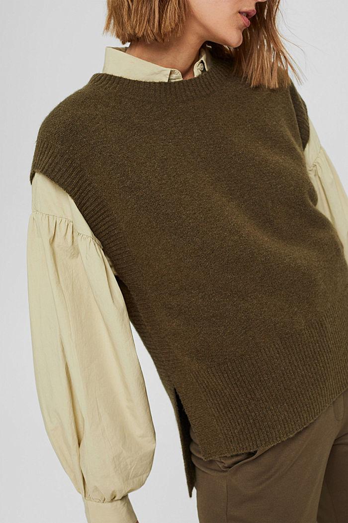 Wool blend: sleeveless jumper with high-low hem, DARK KHAKI, detail image number 2