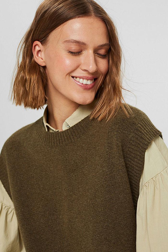 Wool blend: sleeveless jumper with high-low hem, DARK KHAKI, detail image number 6