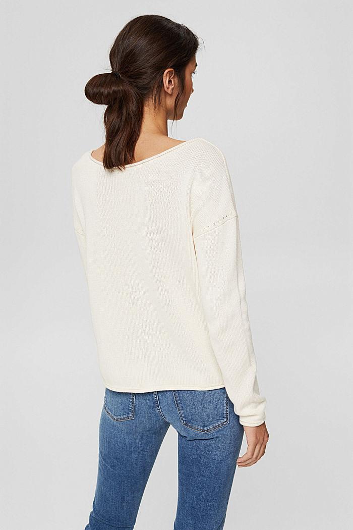 Pullover mit Rollkanten, 100% Bio-Baumwolle, OFF WHITE, detail image number 3