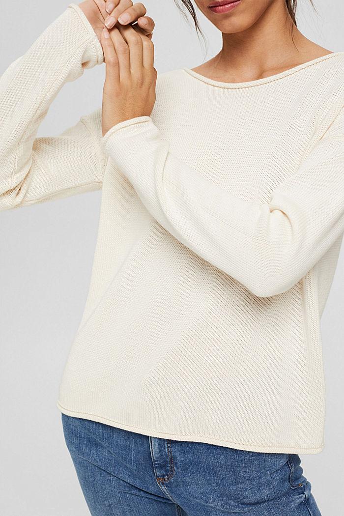 Pullover mit Rollkanten, 100% Bio-Baumwolle, OFF WHITE, detail image number 2