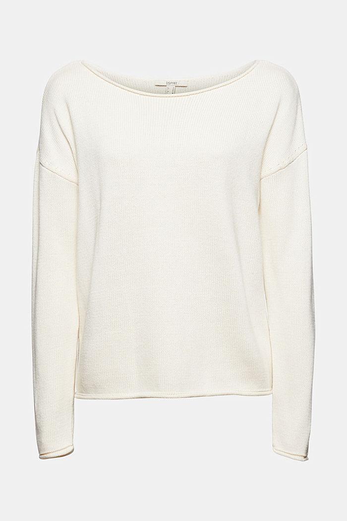 Pullover med rullekanter, 100% økologisk bomuld