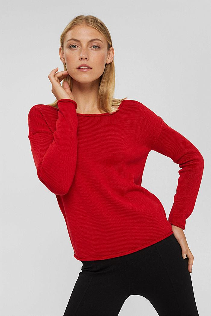 Pullover mit Rollkanten, 100% Bio-Baumwolle, RED, detail image number 0