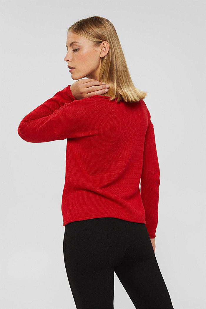 Pullover mit Rollkanten, 100% Bio-Baumwolle, RED, detail image number 3