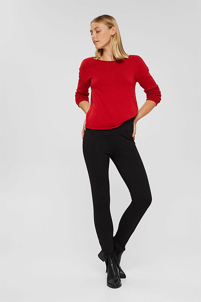 Pullover mit Rollkanten, 100% Bio-Baumwolle, RED, detail image number 1