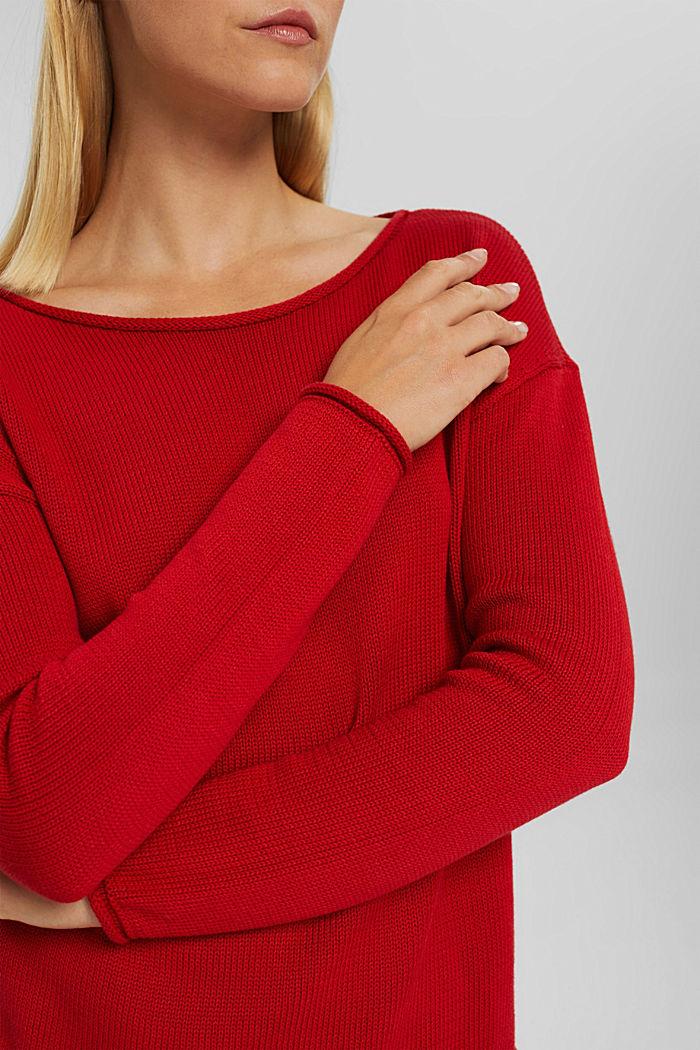 Pullover mit Rollkanten, 100% Bio-Baumwolle, RED, detail image number 2