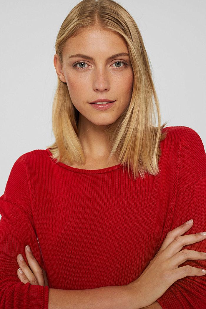 Pullover mit Rollkanten, 100% Bio-Baumwolle, RED, detail image number 5