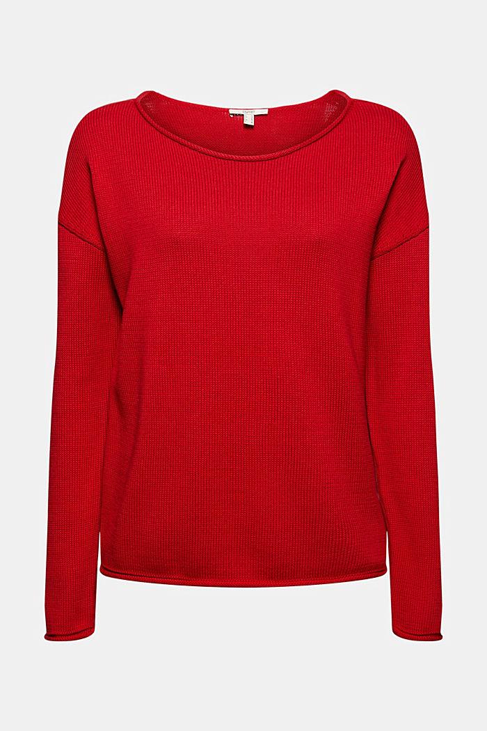 Pullover mit Rollkanten, 100% Bio-Baumwolle, RED, detail image number 6